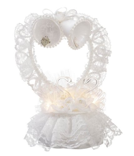 Darice Victoria Lynn Cake Topper Lace Heart Bells White with Silver Hearts and Swan