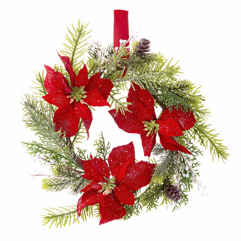Darice Christmas Poinsettia Wreath Cedar, Spruce- 14 Inches