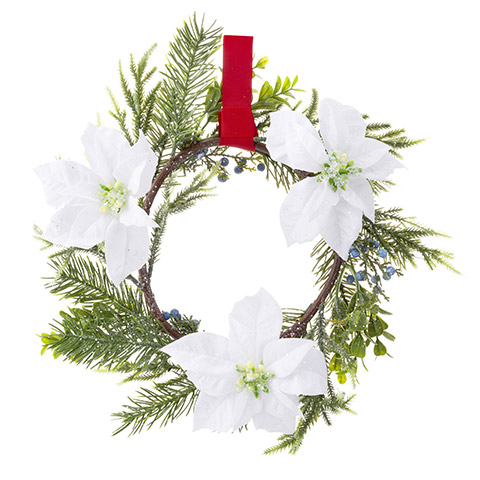 Darice Christmas Poinsettia Wreath Juniper, Boxwood - 14 Inches