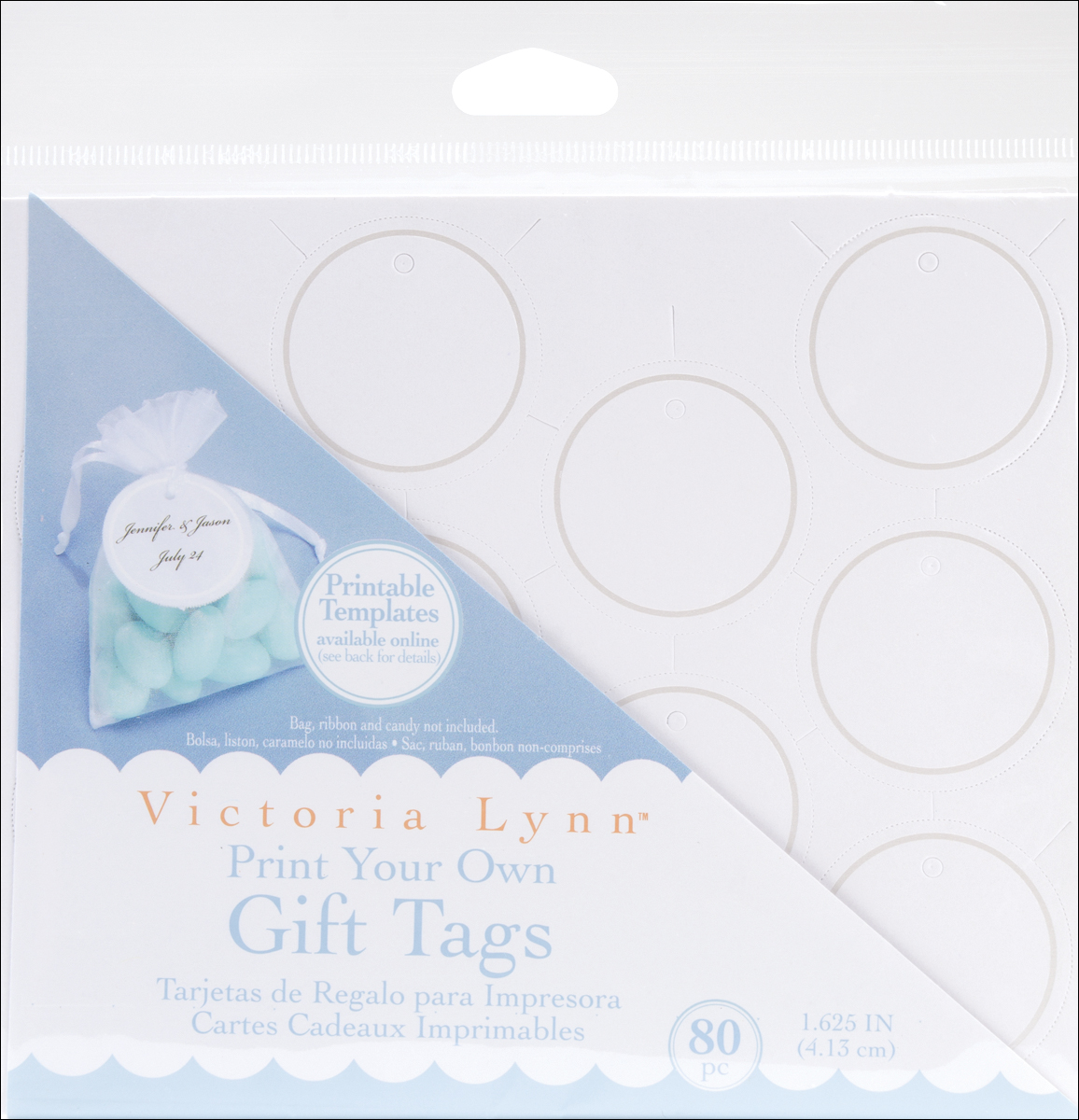 Darice Victoria Lynn Print Your Own Gift Tags 1.625 Inches White Round with Pearl Accent