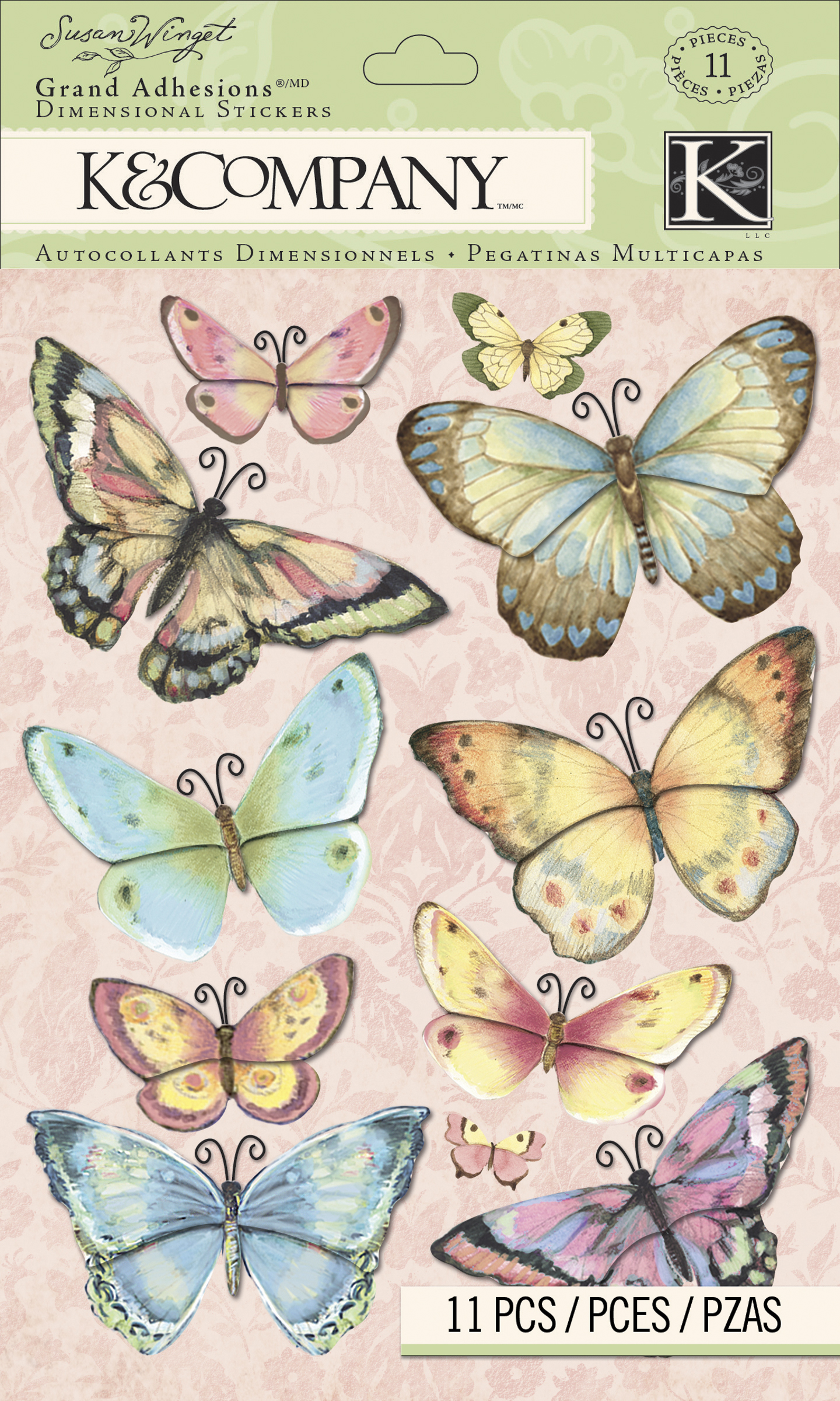 Darice K&Company Floral Butterfly Grand Adhesions Sticker by Susan Winget
