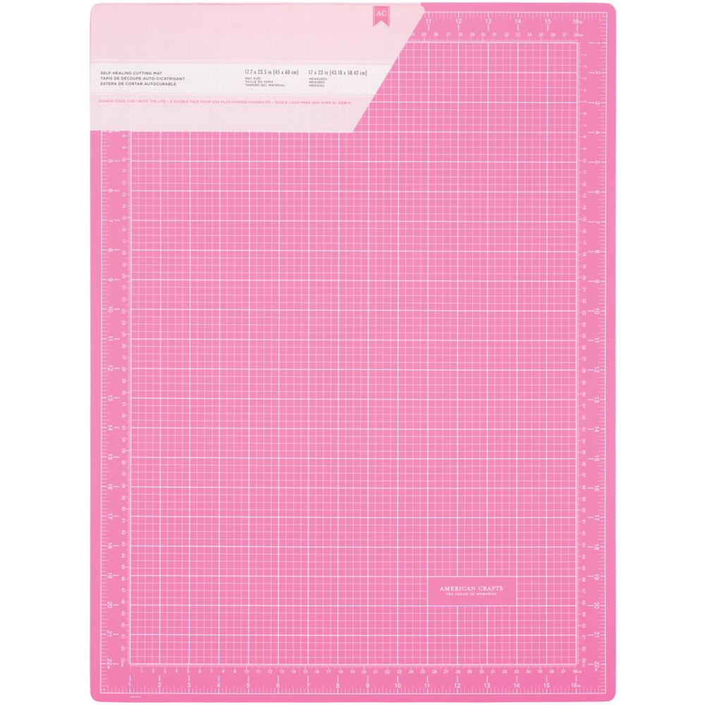 American Crafts Pink Double-Sided Self-Healing Cutting Mat 18 X 24 inches