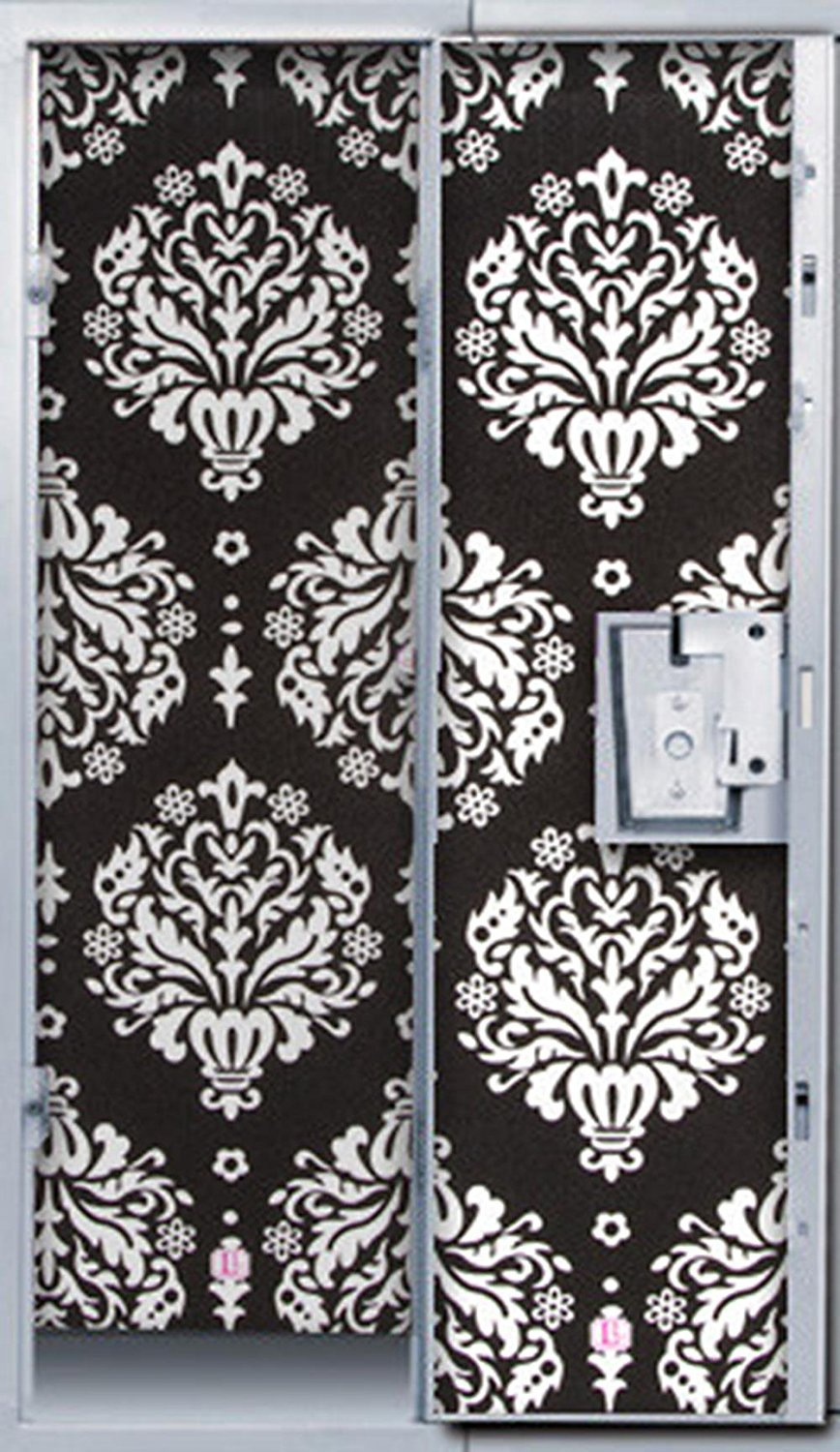 Darice Lockerlookz Wallpaper 4 Panel Black White Damask