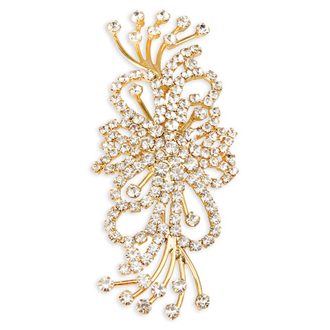 Darice David Tutera Gold Brooch - Rhinestones Spray - 4 x 1.5 inch