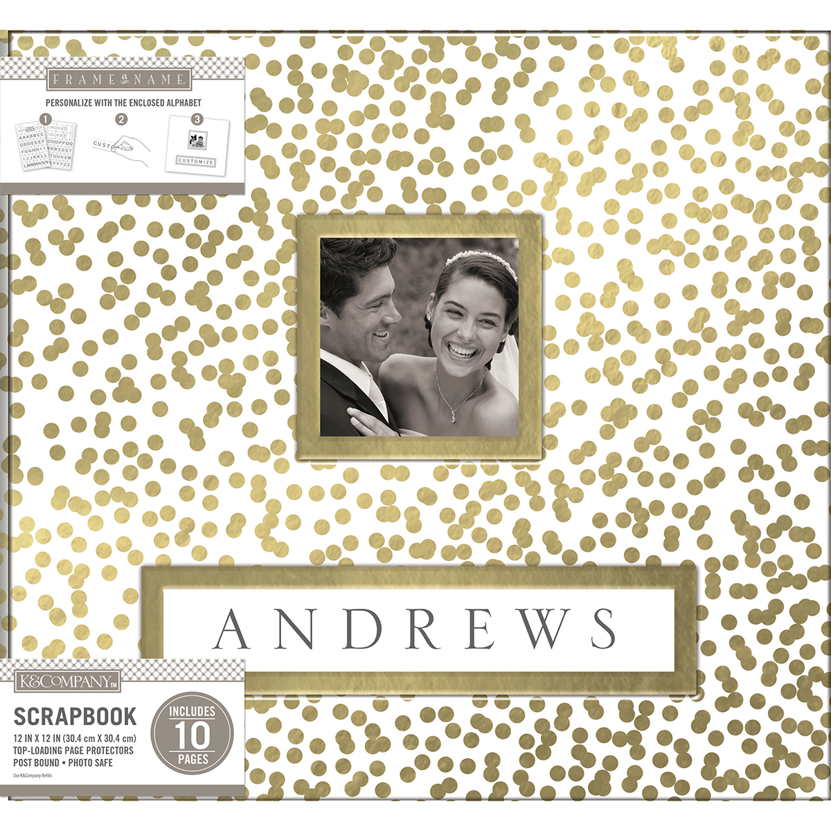 American Crafts K&Company Frame A Name Post Bound Album 12X12 inches, Gold Foil Scatter Dots