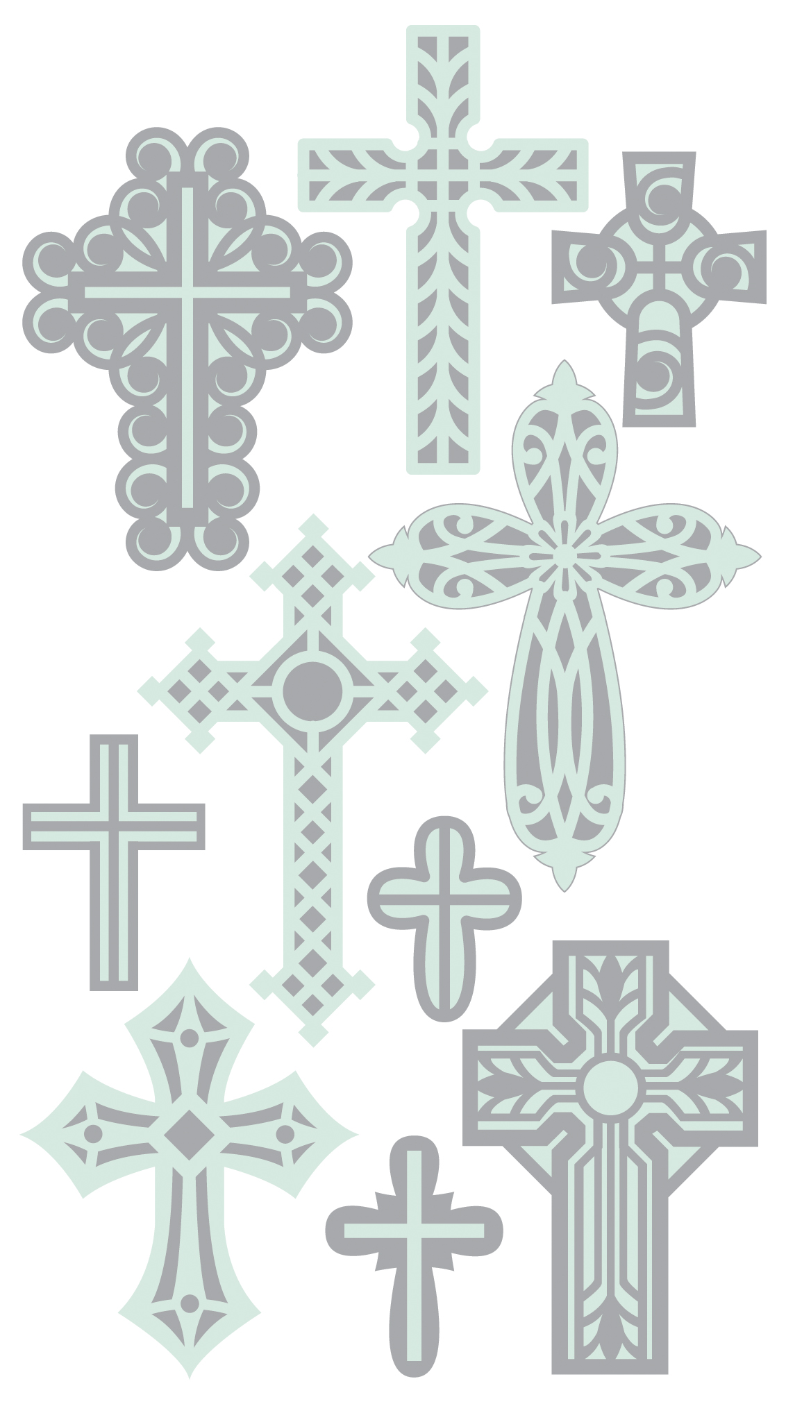 Darice Sticko Layered Stickers  Crosses 3.75 x 6.75 inches