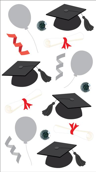 Darice Jolees Boutique 3D Stickers Vellum Graduation Caps
