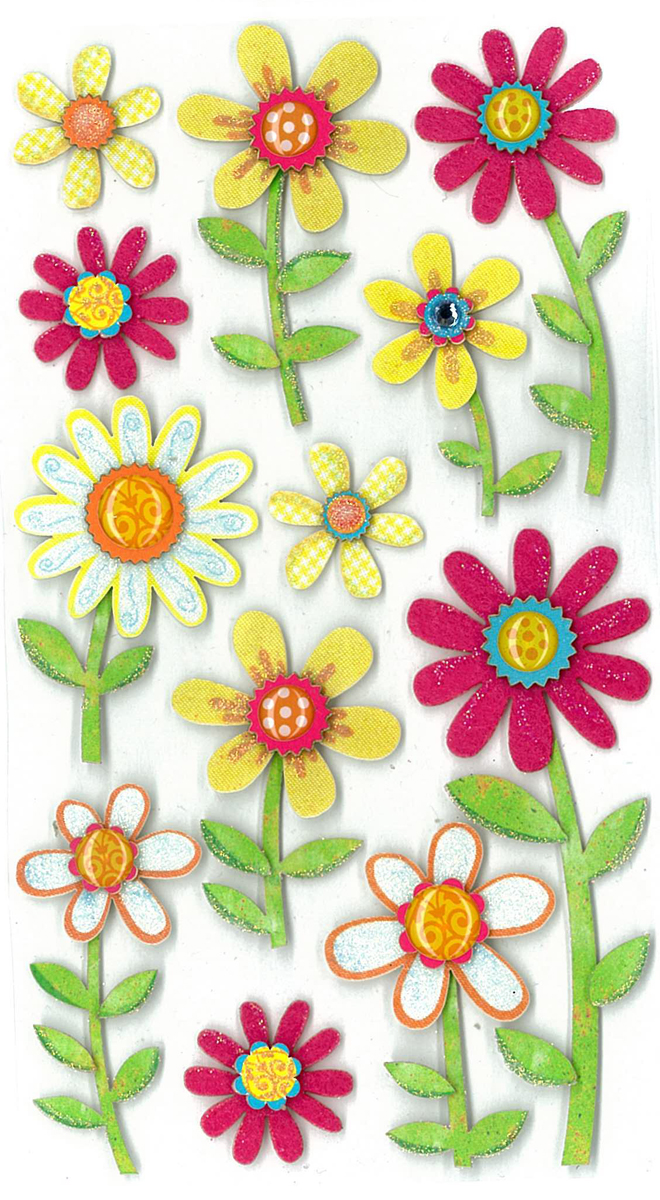 Darice Jolees Boutique Dimensional Stickers Large Daisies