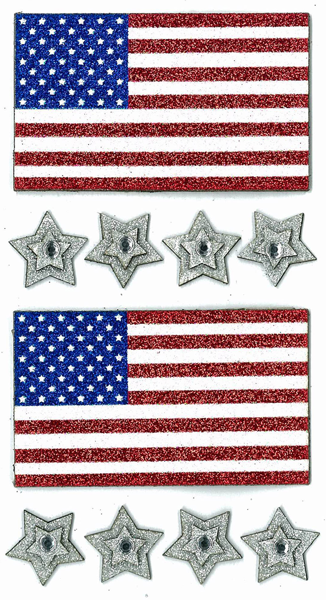 Darice Sticker 3D Flags and Stars