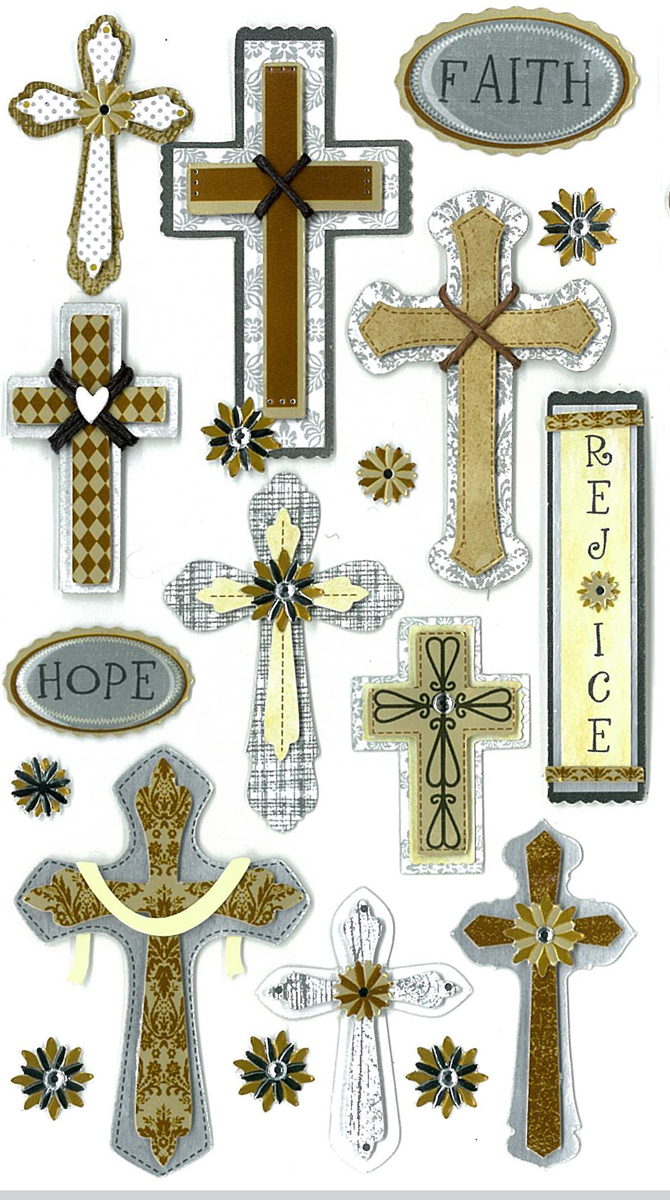 Darice Jolees Boutique Dimensional Stickers Faith Hope and Rejoice