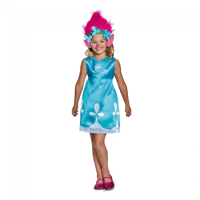 Disguise Poppy Classic With Headband Trolls Girl Costume, Blue, Medium (7-8)