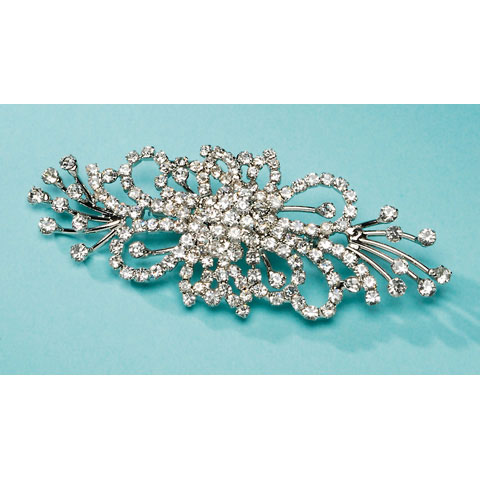 Darice David Tutera Rhinestone Brooch - Flat Spray - Silver - 4 x 1.5 inches