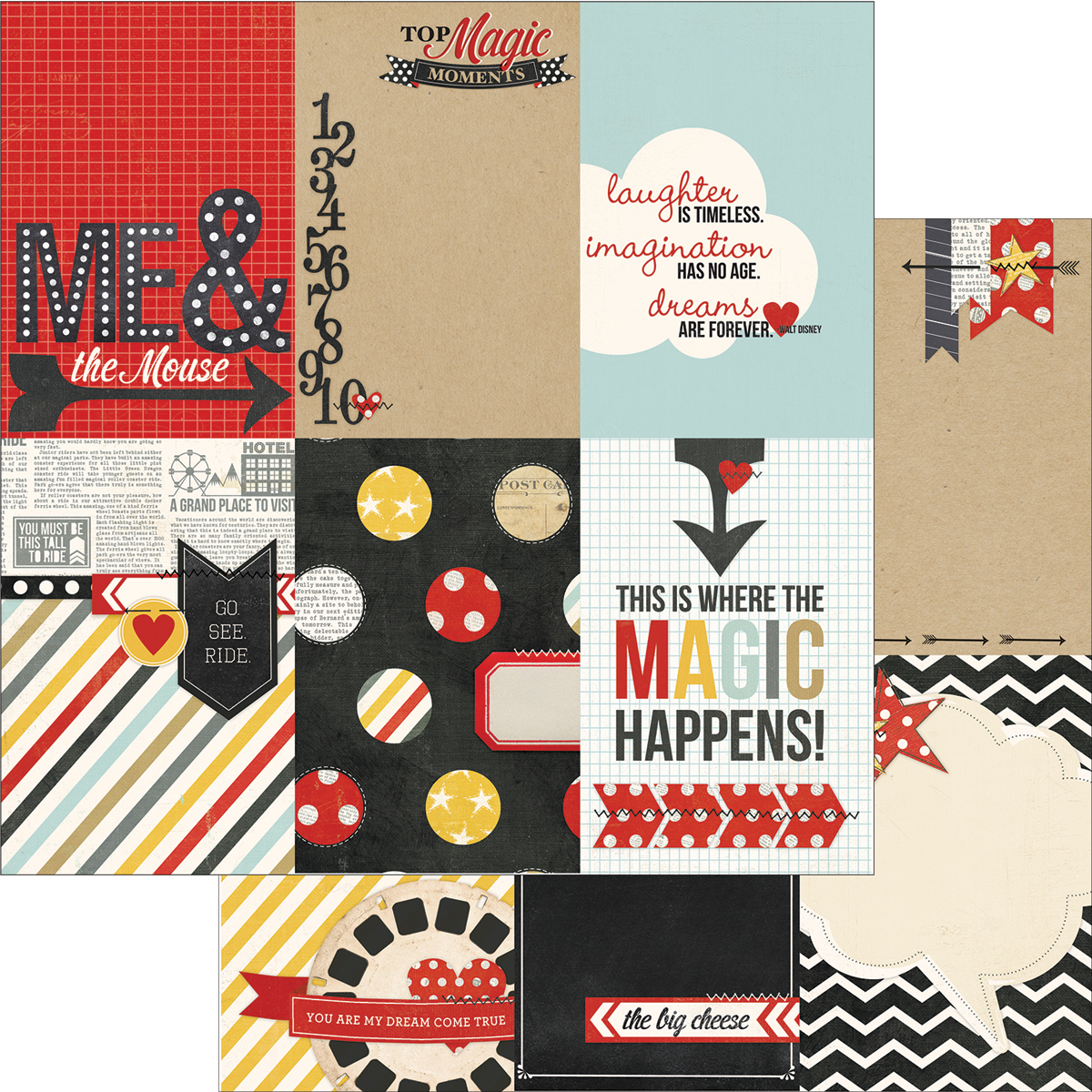 Simple Stories Say Cheese Collection 12 x 12 Double Sided Paper 4 x 6 Vertical Journaling Card Elements