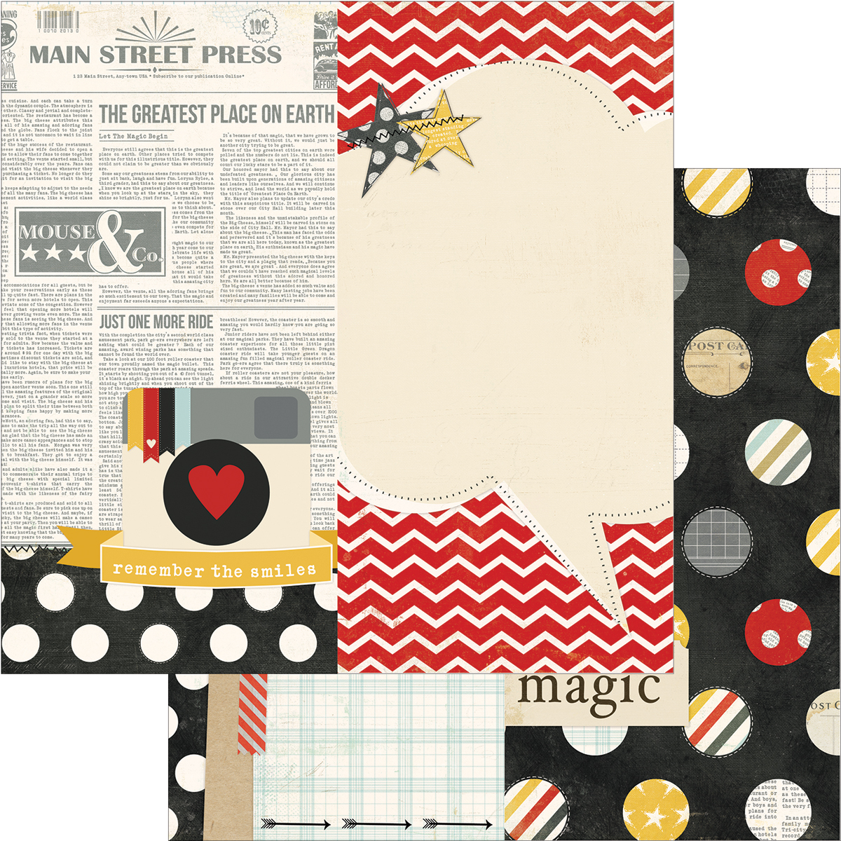 Simple Stories Say Cheese Collection 12 x 12 Double Sided Paper Page Elements