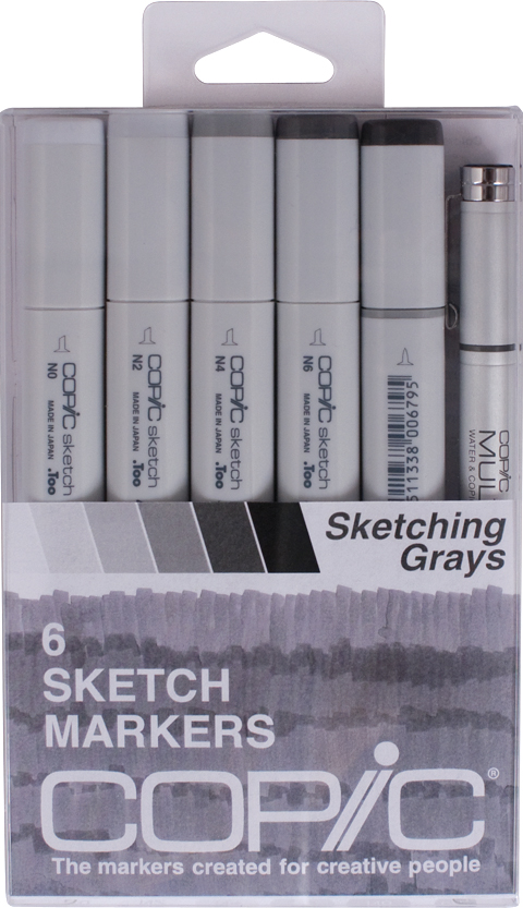 Copic Sketch Markers set of 6 sketching Grays