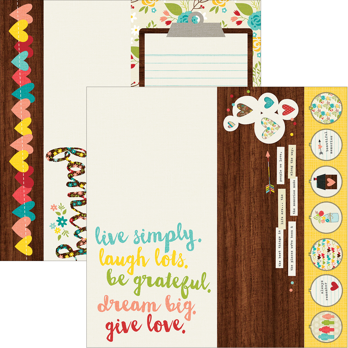 Simple Stories We Are Family Collection 12 X 12 Double Sided Paper 2 X 12 and 4 X 12 and 6 X 12 Elements